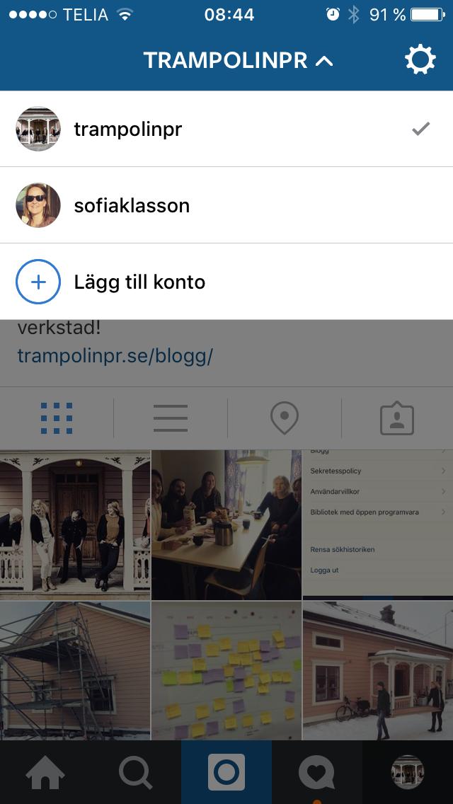 Växla mellan konto på Instagram